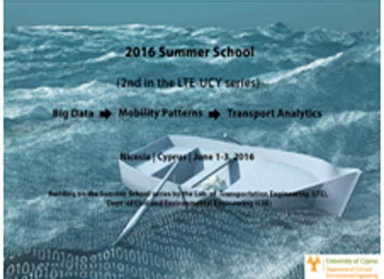Summer school: Big Data – Mobility Patterns – Transport Analytics, 1-3 June 2016, Nicosia, Cyprus